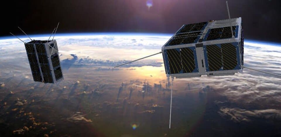 2 small satellites in space